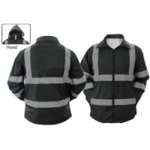 High Visibility Raincoat With Reflective Stripes (Black)
