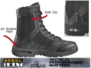 "ORIGINAL SWAT 9"" METRO AIR SIDE-ZIP BOOTS (BLACK)  ALL SIZES 7-13"